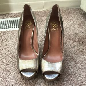 Vince Camuto silver and gold heels